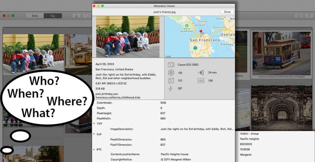 photo captions and metadata