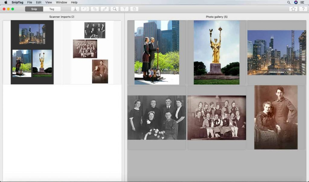 SNIP is sniptag app's function for auto-cropping scanned photos
